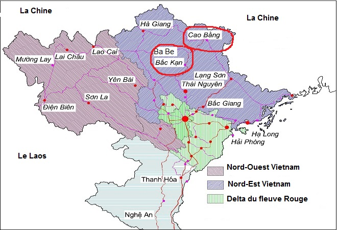 plan du voyage Ba Be - Cao Bang