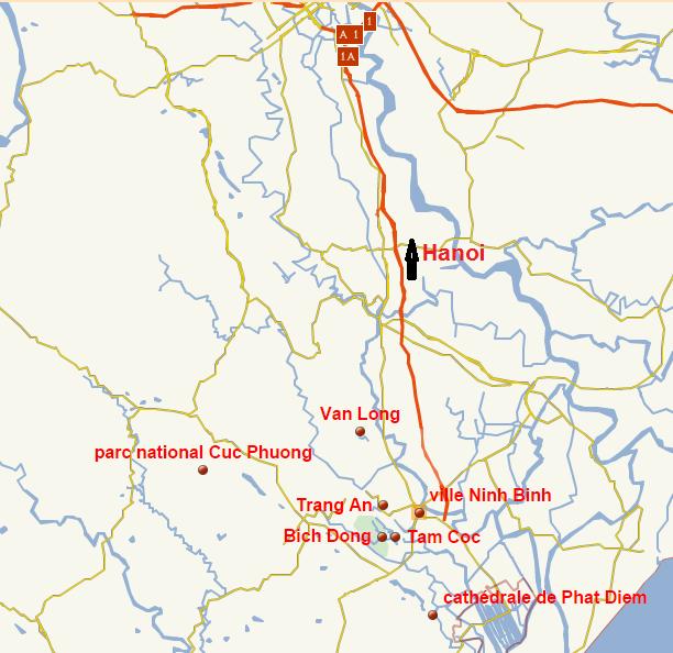 Ninh Binh - baie d'Halong terrestre - carte