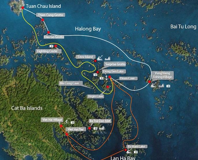 Itinéraire pour les croisières à la baie d'Halong