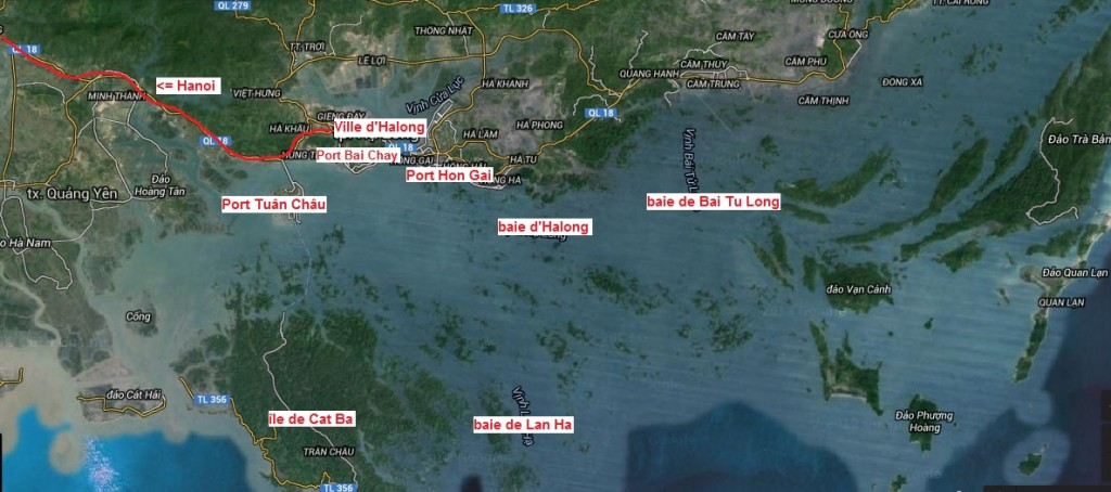 carte des baie d'Halong, de Bai Tu Long et de Lan Ha