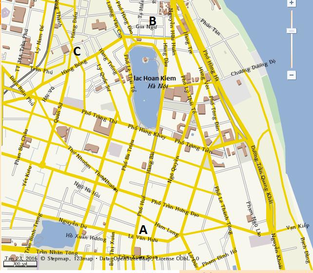 carte de Hanoi pour manger un bun cha
