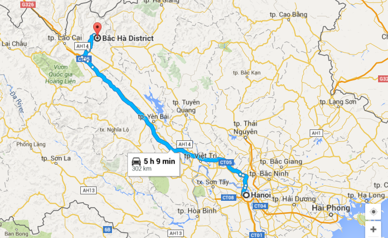 carte route Hanoi Bac Ha