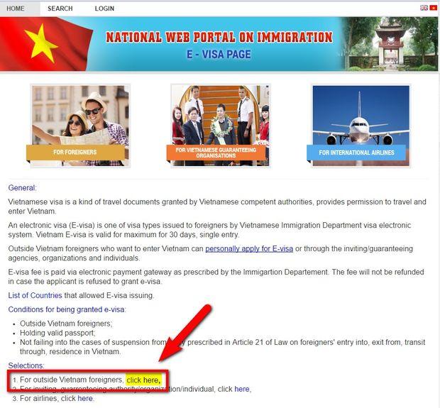 6 étapes pour obtenir l'e-visa Vietnam 2017 sur le site officiel du Département de l'Immigration-etape2