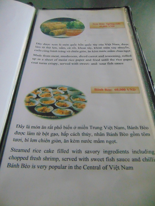 Hue Vietnam-Que-faire-Hué-Top-10-choses-faire-absolument-Hue-menu-restaurant-Hanh