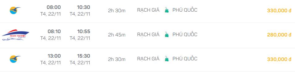horaires bateau rapide Rach Gia Phu Quoc