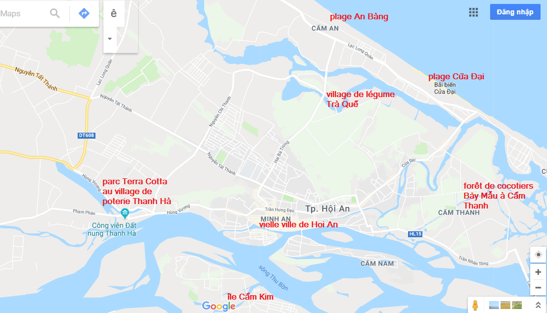 carte des attractions à Hoi An Vietnam