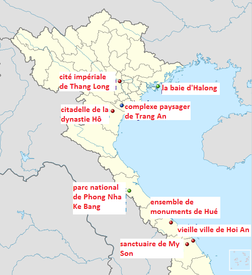 carte des sites de l'UNESCO au Vietnam