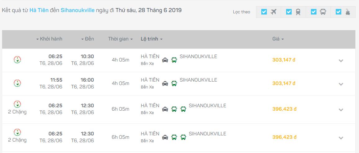 Bus Ha Tien Sihanoukville